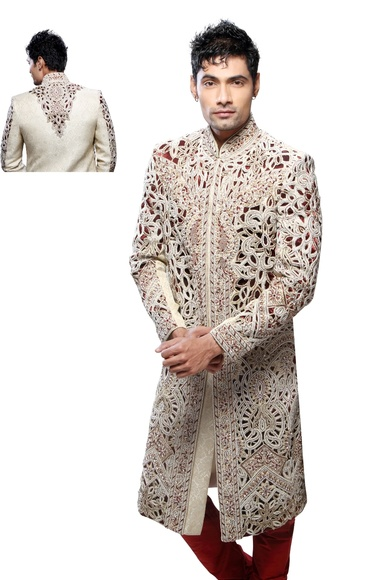 Mens Striking Cream Color Royal Sherwani