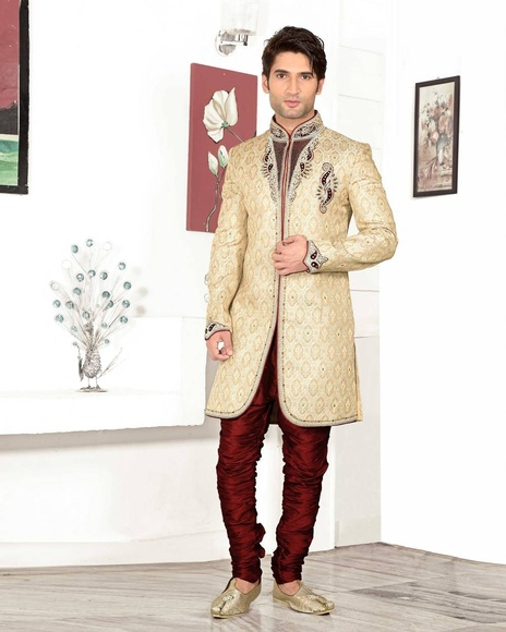Mens Astonishing Cream Color Royal Sherwani For Wedding