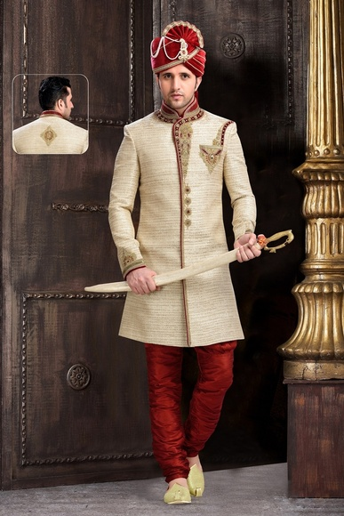 Ivory Fabulous Mens Chinese Collar Cream Royal Sherwani
