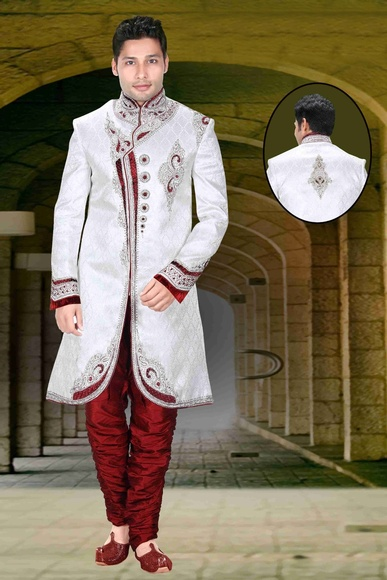 Trendy Look White Color Royal Sherwani For Men