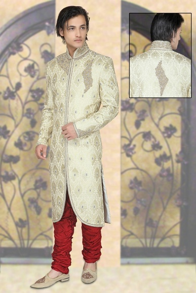 Enrapturing Cream Color Royal Sherwani For Men