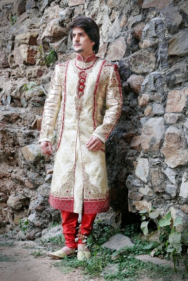 Extravagant Banarasi Mens Beige Color Royal Sherwani