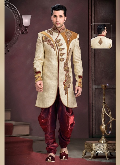 Speldid Look Mens Beige Color Royal Sherwani
