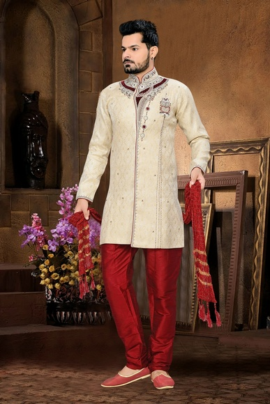 Tantalizing Beige Royal Sherwani For Men