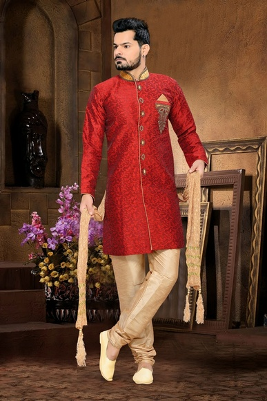 Mens Ivory Fabulousred Color Royal Sherwani