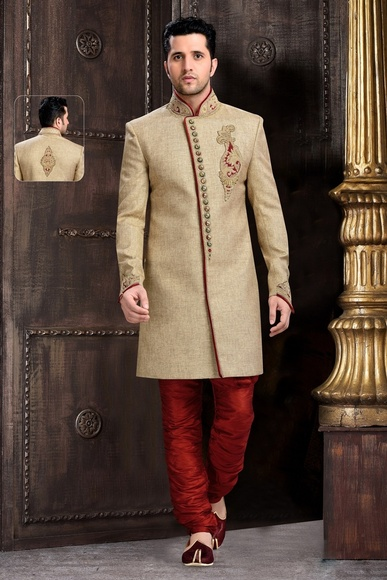 Mens Elegant Look Chinese Collar Brown Royal Sherwani