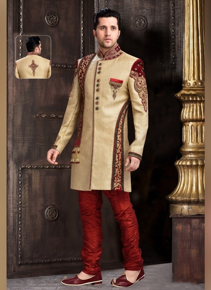Fabulous Look Mens Brown Color Royal Sherwani