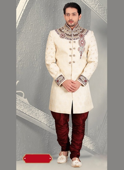 Unique Designer Collection Glamour Look Cream Royal Sherwani For Wedding