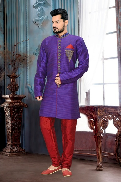 Ravishing Purple Color Royal Sherwani For Wedding
