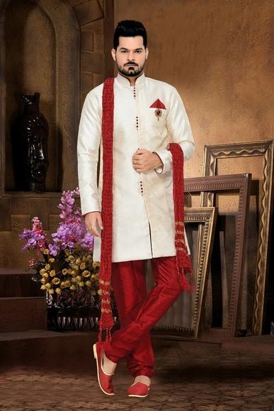 Mens Sensational White Color Royal Sherwani