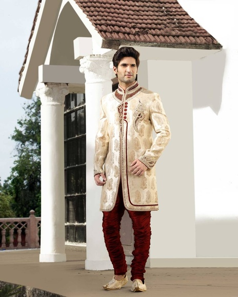 Mens Enamouringband Collar Cream Color Royal Sherwani