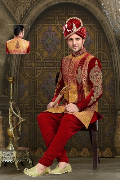 Distinguish Mens Kalamkari Red Color Royal Sherwani