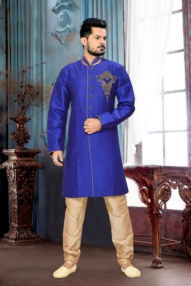 Trend New Fashionable Mensroyal Rich Blue Royal Sherwani