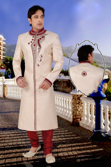 Extra Vegent Lookbeige Color Royal Sherwani For Wedding