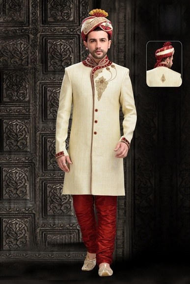 Glamour Mens Chinese Collar Cream Royal Sherwani