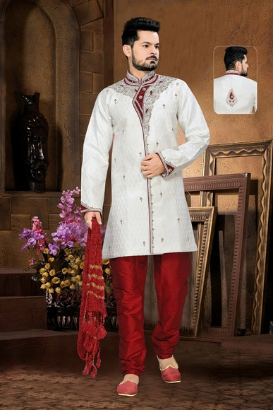 Sanctifying Mens White Color Royal Sherwani