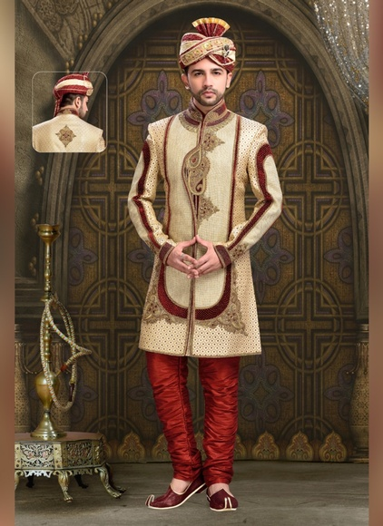 Trendy Traditional Look Mens Brown Royal Sherwani