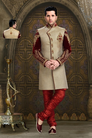Smart Looking Mens Chinese Collar Brown Royal Sherwani