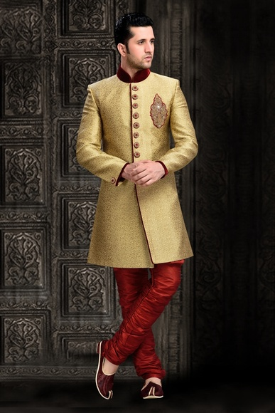 Impress Your Self Chinese Collar Cream Royal Sherwani