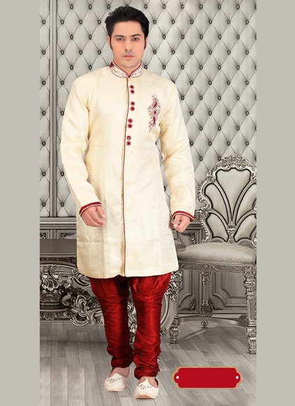 Cream Color Tantalizing Look Royal Sherwani