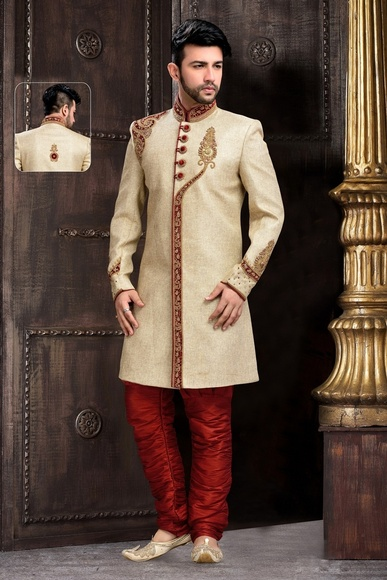 Mens Stimulating Beige Color Royal Sherwani