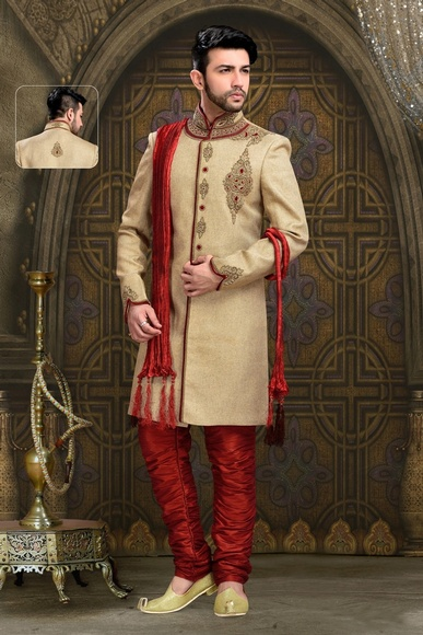 Beauteous Brown Color Royal Sherwani For Wedding And Festivals