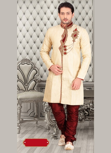 Flatter Your Look Mens Cream Royal Sherwani