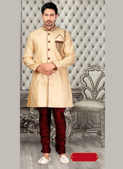 Designer Collection Cream Color Engrossing Royal Sherwani