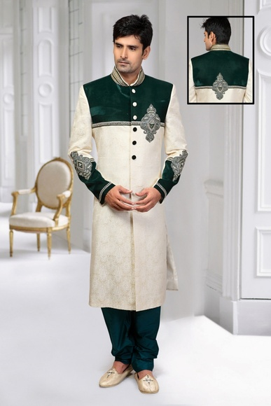 Enrapturing Green Cream Designer Unique Collectionroyal Sherwani