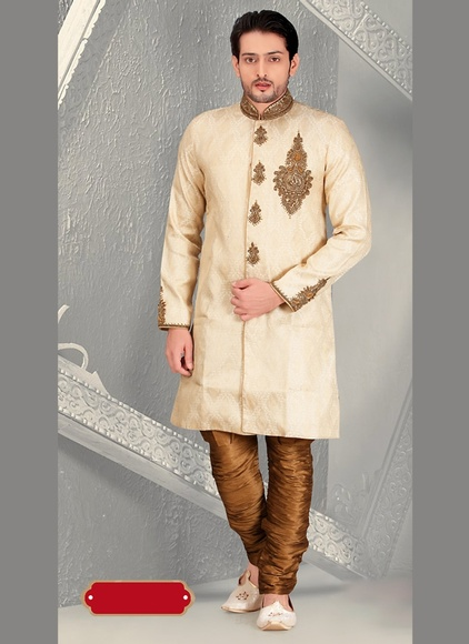 Mens Beautifull Wedding Look Cream Royal Sherwani