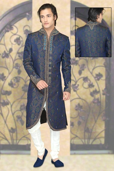 V Neck Designer Royal Blue Color Royal Sherwani