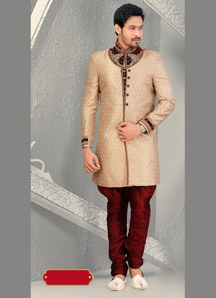 Sprting Ethnic Look Beige Color Sherwani