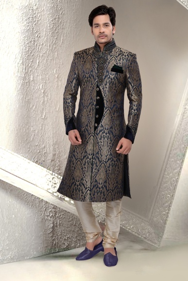 Mens Glamour Look Royal Blue Royal Sherwani