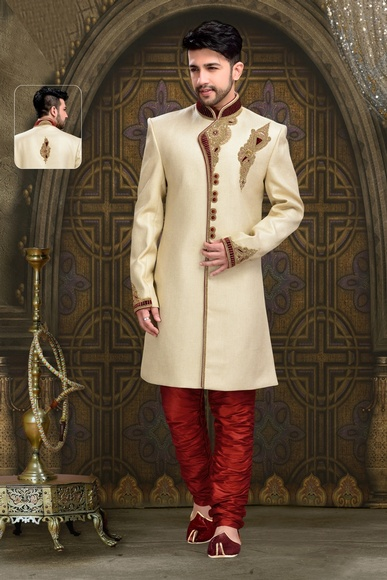 Mens Charming Look Beautiful Cream Color Royal Sherwani