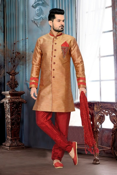 Urban Ethnic Lookbrown Color Royal Sherwani For Wedding