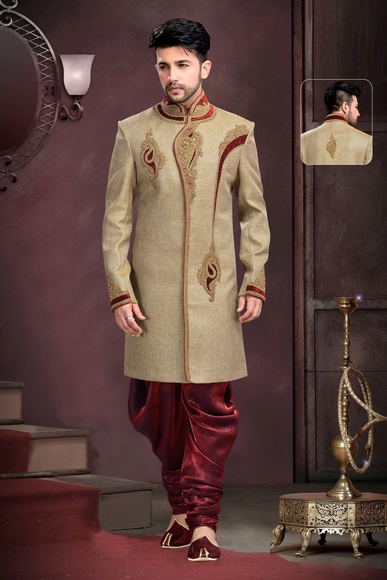 Mens Brown Color Sangeet Sherwani