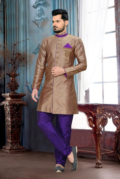 Marvelous Look Brownroyal Sherwani For Ethnic Look