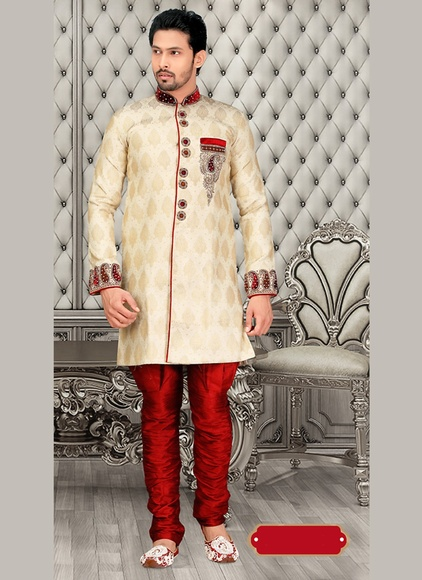 Cream Live Rich Lookroyal Sherwani Wedding And Sangeet