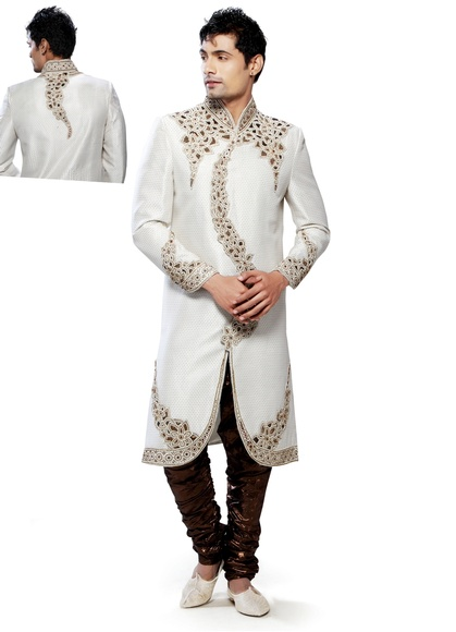 Formidable White Color Royal Sherwani For Men