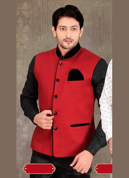 Red Color Dupioni Raw Silk Nehru Jacket
