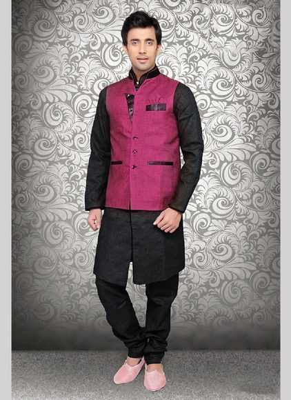 Trendy Stylish Fuchsia Color Linen Nehru Jacket
