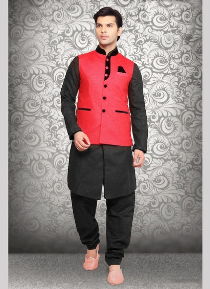 Unique Collection Red Color Linen Nehru Jacket