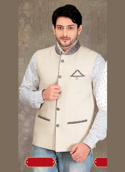 Striking Look Beige Color Jute Nehru Jacket