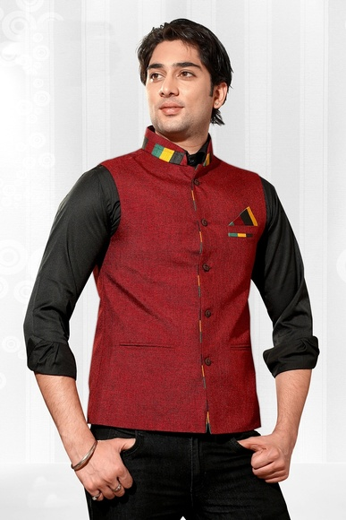 Impressive Look Red Color Nehru Jacket