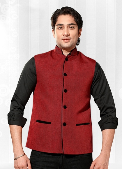 Striking Maroon Color Nehru Jacket