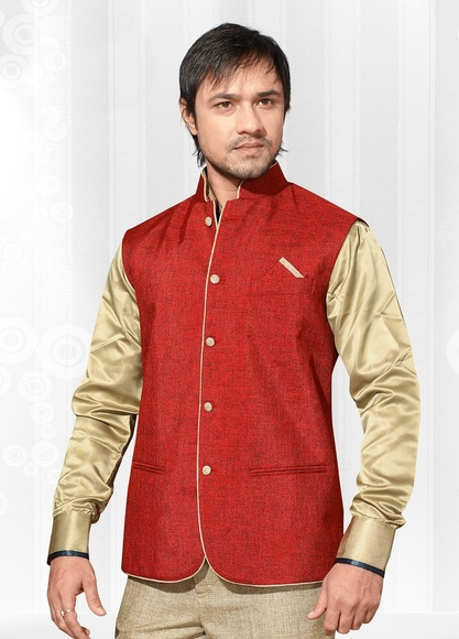 Flamboyant Red Color Linen Nehru Jacket