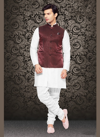 Admirable Rich Look Maroon Color Satin Nehru Jacket