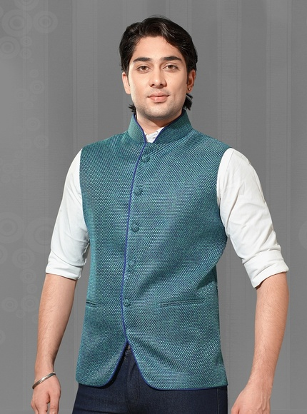 Royak Look Turquoise Color Nehru Jacket