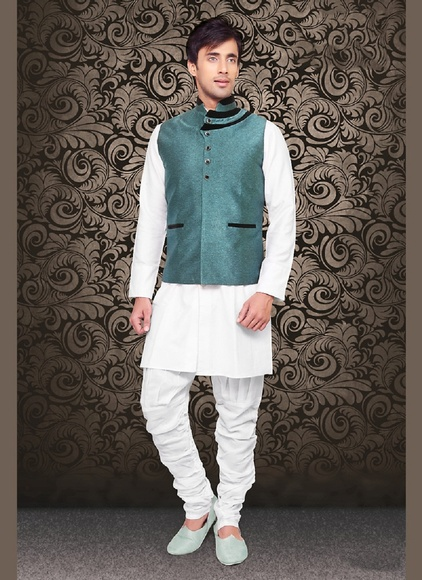 SplendidLook Green Color Linen Mens Nehru Jacket