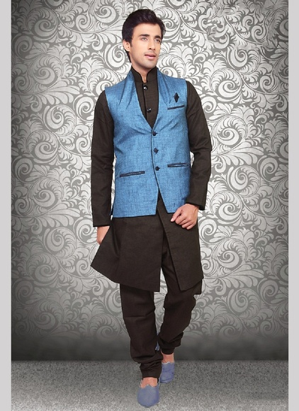 Traditional Fancy Blue Color Linen Nehru Jacket
